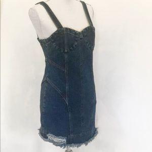 Vtg Structured Distressed Denim Mini Tank Dress